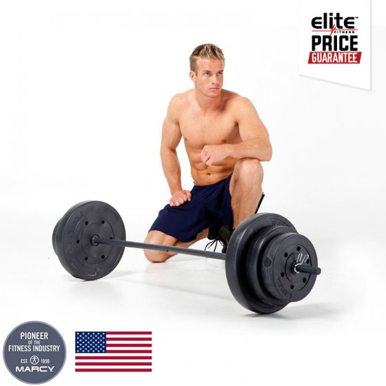 Marcy lb vinyl barbell weight set elite fitness nz