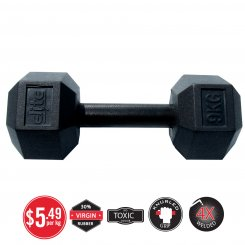 BLACK HANDLE RUBBER HEX DUMBBELL