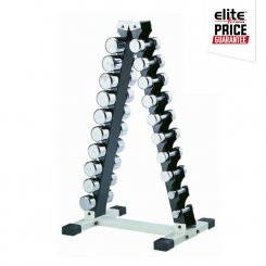 10 PAIR CHROME VERTICAL DUMBBELL RACK