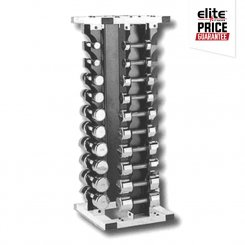 20 PAIR CHROME 4 SIDED DUMBBELL RACK